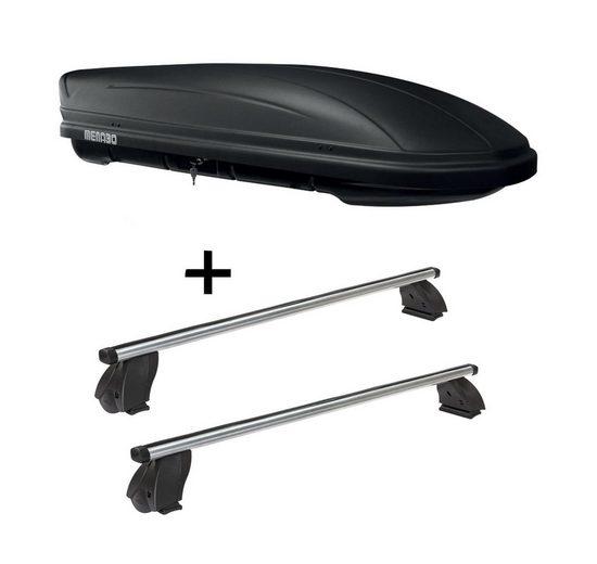 VDP Fahrradträger, Dachbox MAA400 400 Liter matt + Dachträger K1 PRO Aluminium kompatibel mit Ford C-Max (5Türer) 03-10