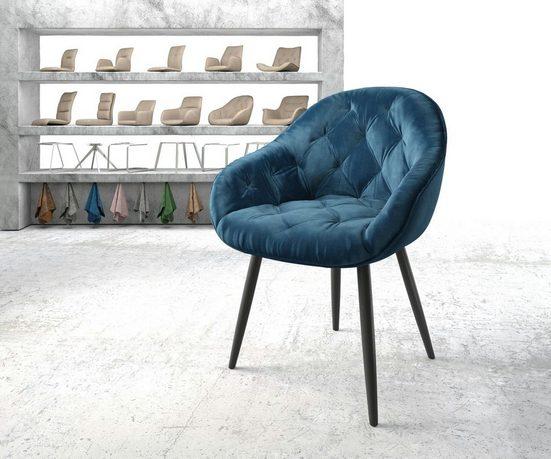 DELIFE Esszimmerstuhl »Gaio-Flex«, 4-Fuß konisch schwarz Samt blau