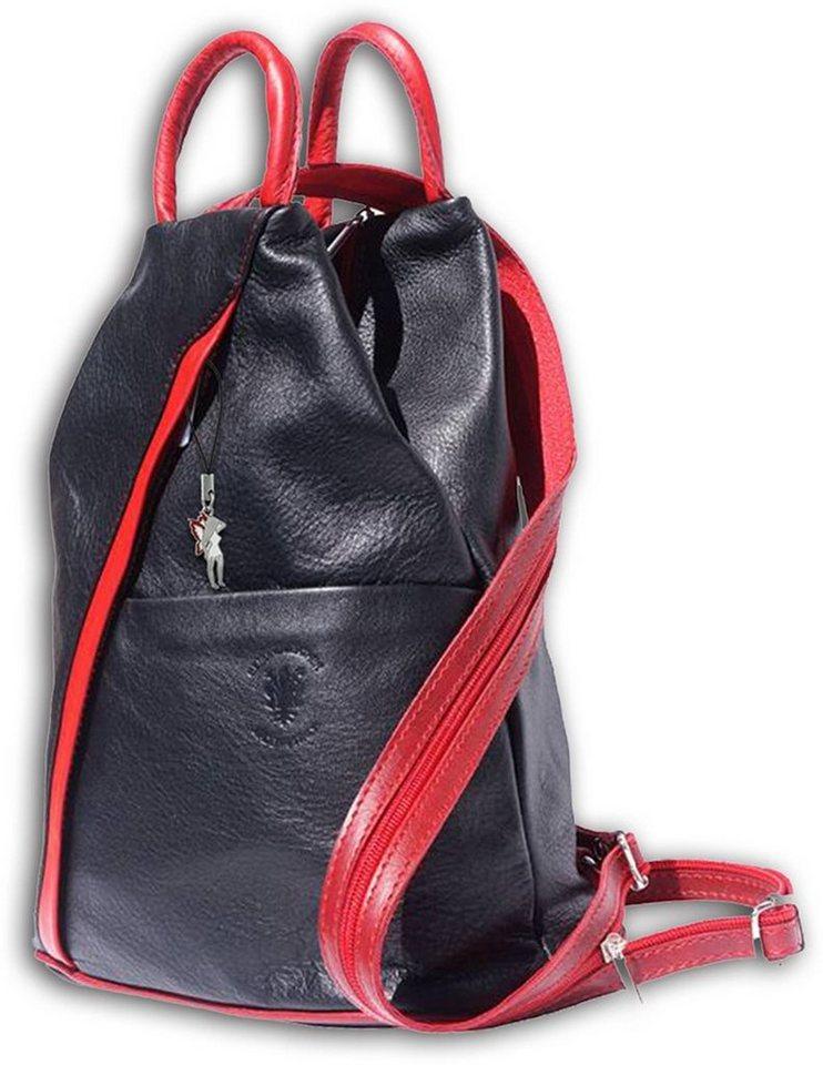 florence -  Cityrucksack »OTF604D  Damen Schultertasche«, Damen Rucksack, Tasche, Echtleder schwarz, rot