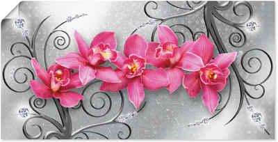 Artland Wandbild »rosa Orchideen auf Ornamenten«, Blumenbilder (1 Stück), in vielen Größen & Produktarten - Alubild / Outdoorbild für den Außenbereich, Leinwandbild, Poster, Wandaufkleber / Wandtattoo auch für Badezimmer geeignet