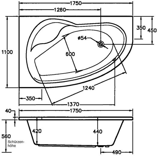 OTTOFOND Whirlpool-Badewanne »Loredana«, (Komplett-Set, 2-tlg), Typ Premium, chrom