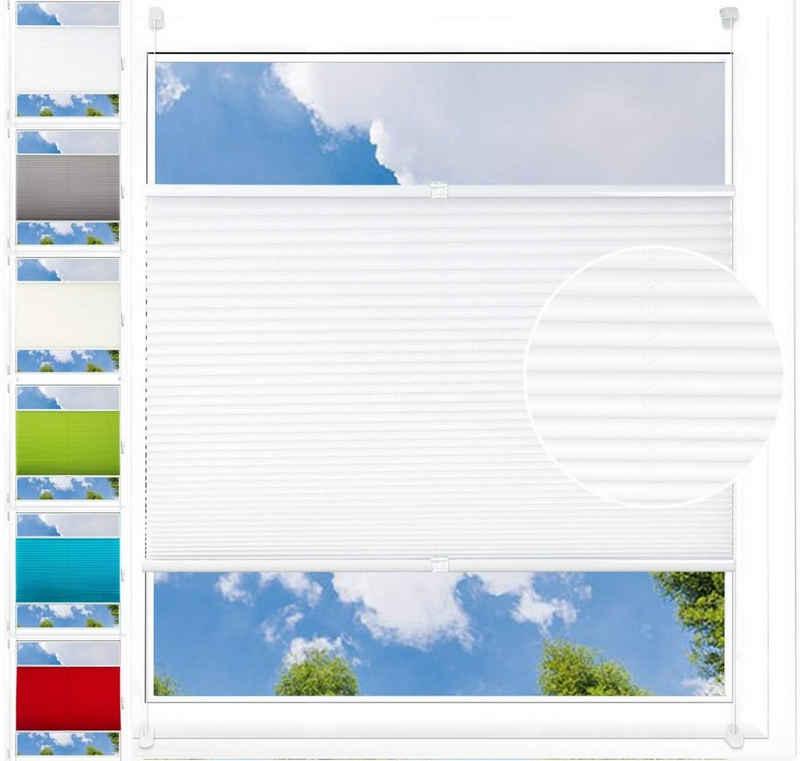 Plissee, Woltu, Lichtschutz, Klemmfix Faltrollo ohne Bohren Jalousie mit Klemmträger, Jalousie Faltrollo Fensterrollo Blickdicht verdunkelt, easyfix & verspannt, Sichtschutz Sonnenschutz, Weiß