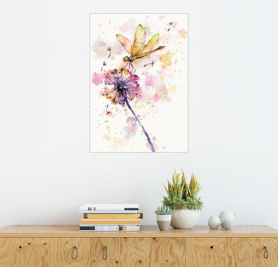Posterlounge Wandbild, Premium-Poster Libelle und Löwenzahn