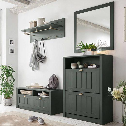Lomadox Garderoben-Set »ATHEN-61«, (Spar-Set), Garderobenmöbel Set in engleich-grün edler Landhausstil, B/H/T: 205/198/43cm