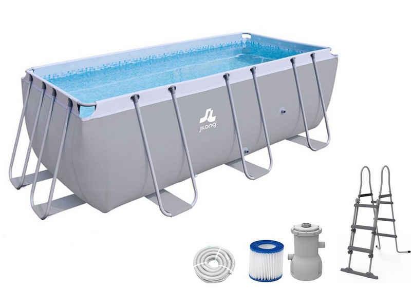 Avenli Framepool »Avenli® Frame Rectangular Pool Set 400 x 200 x 99« (Set, Poolset mit Pumpe und Leiter), 400x200x99cm Aufstellpool in grau