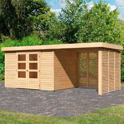 Karibu Gartenhaus »Arnis 5«, BxT: 554x262 cm, (Set, mit Anbau inkl. Seiten- und Rückwand)