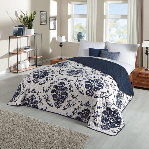 Bettüberwurf »Floral blau«, Delindo Lifestyle