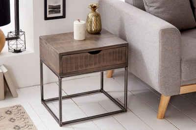 riess-ambiente Nachttisch »IRON CRAFT 45cm grau«, Massivholz · Beistelltisch · mit Schublade · Industrial · Akazie
