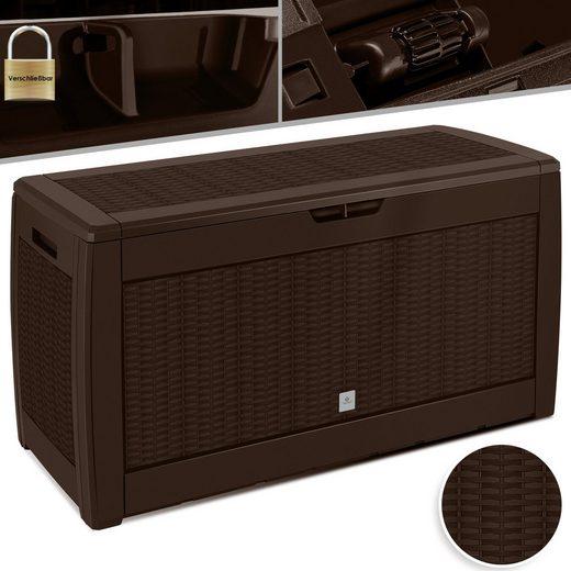 KESSER Aufbewahrungsbox, Kissenaufbewahrungsbox 310L Auflagen Garten Auflagenbox mit Rollen klappbarer Deckel Haltegriffe Rattanoptik Gartenbox