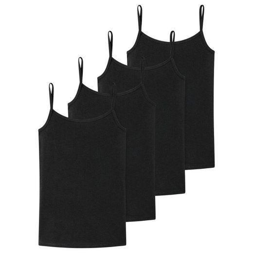 Schiesser Unterhemd »4er Pack Teens Girls 95/5 Organic Cotton« (4 Stück), Spaghetti-Tops / Unterhemden - Unifarbenes Design, Mit schmalen Trägern, Elastischer Zweinadelbund am Saum