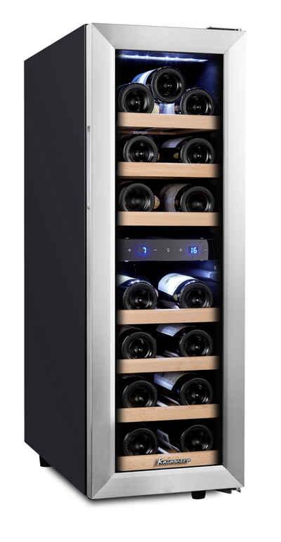 kalamera Weinkühlschrank KRC-75BSS, für 19 Standardflaschen á 0,75l,2 zonen,Kühltemperatur: 5-10 °C /10-18 °C,Edelstahl Glastür