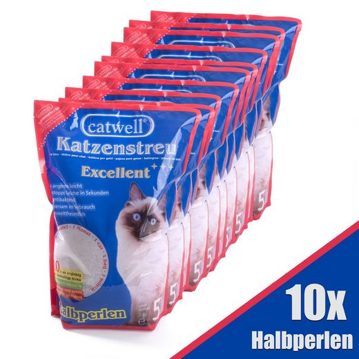 Ampel 24 Katzentoilette »Katzenstreu Halbperlen«, aus Silikat, 10 x 5L, Grundpreis 1,1€ pro Liter