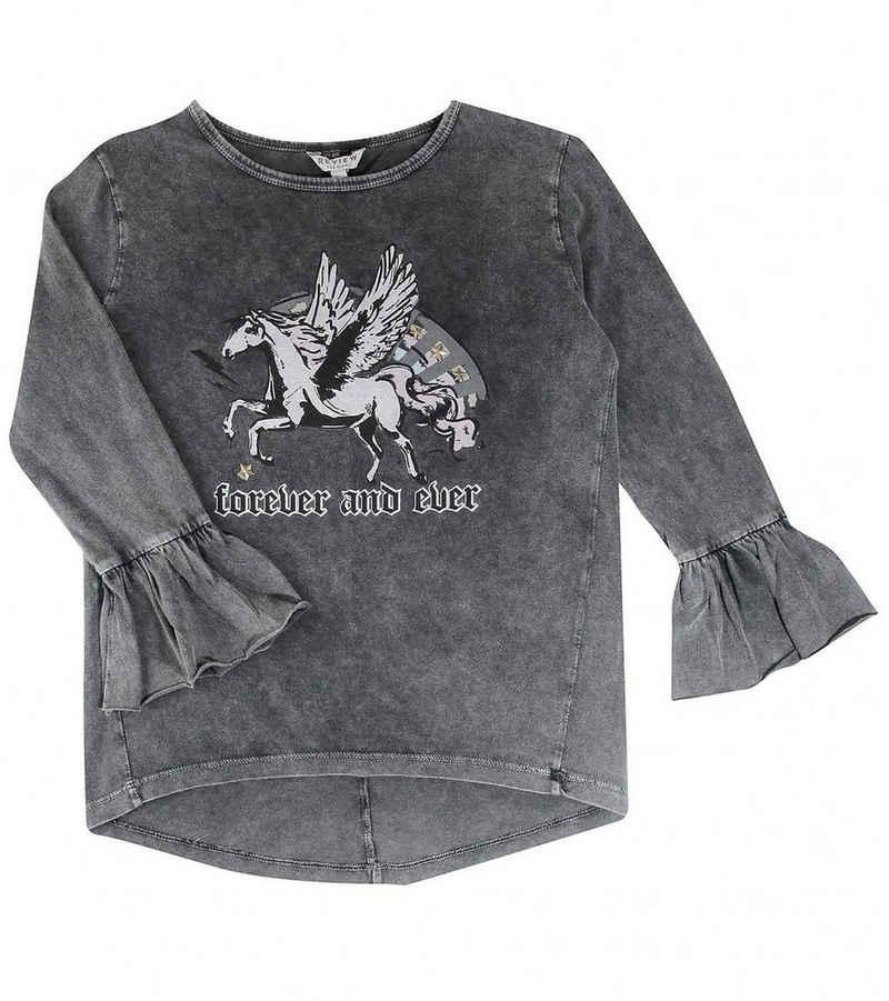 REVIEW Langarmshirt »REVIEW FOR TEENS Langarm-Shirt cooler Pulli für Mädels Mit Pferde-Print Freizeit-Shirt Anthrazit«