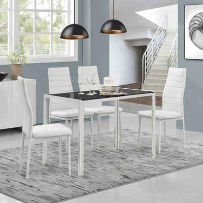 en.casa Esszimmer-Set, (Set, 5-St., Bestehend aus 1 Tisch, 4 Stühlen), »Bergen« Esstisch + 4 Stühle in verschiedenen Farbkombinationen