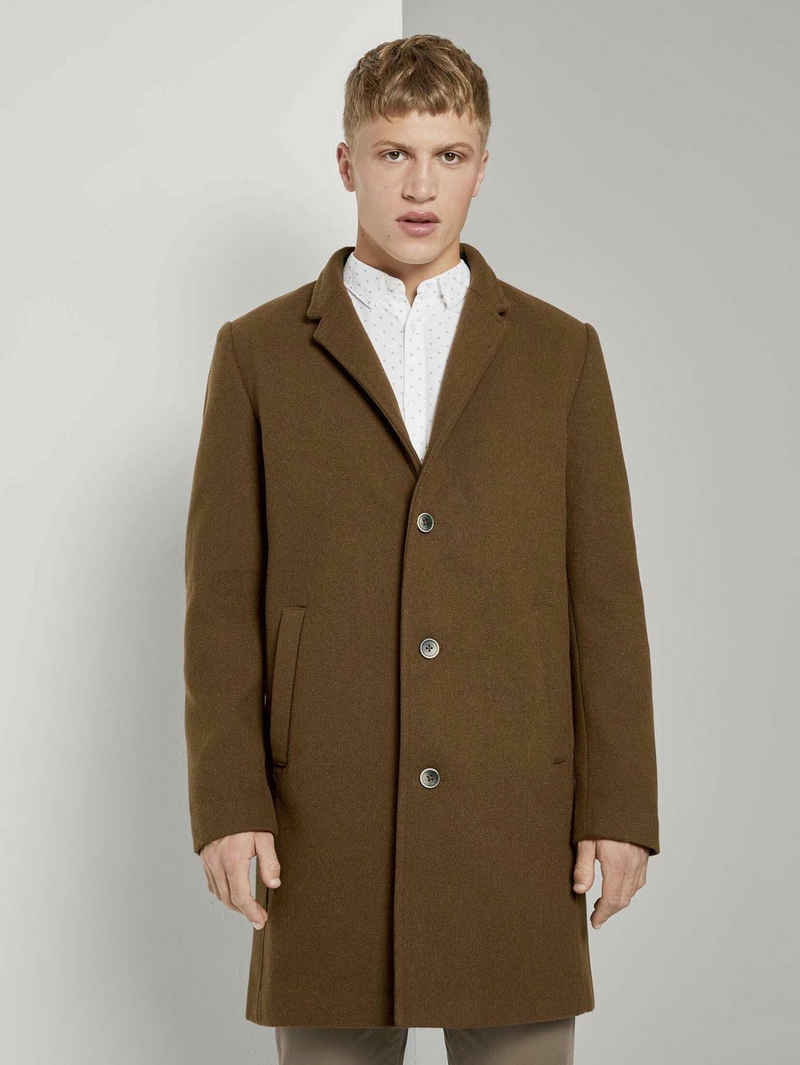 TOM TAILOR Denim Lederjacke »Moderner Mantel aus Wollgemisch«