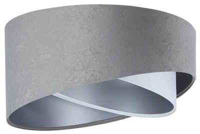 Jens Stolte Leuchten Deckenleuchte »Susanne«, grau, Deckenleuchte, 50cm Ø, Stoffdeckenleuchte grau/weiß/silber