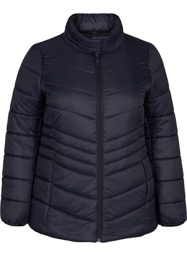 Zizzi Kurzjacke Große Größen Damen Wattierte Jacke mit Kapuze und Reissverschluss