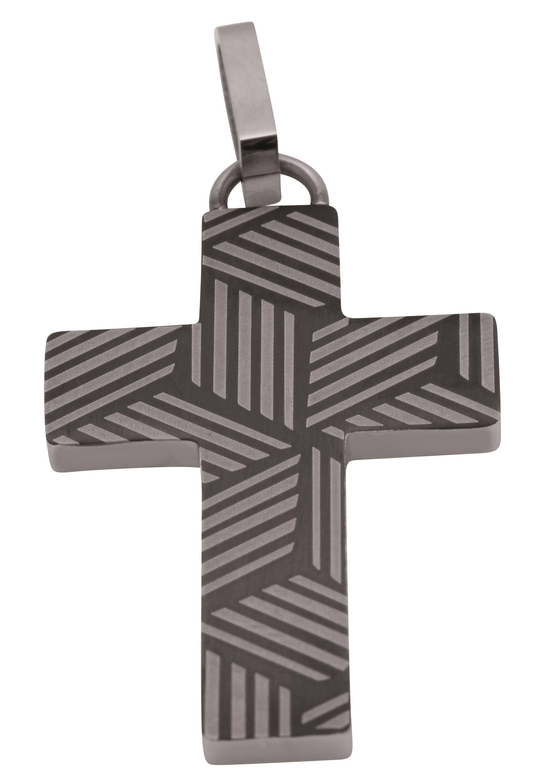 1215 Leder Halskette 40-75cm mit Edelstahl Kreuz Anhänger 35 x 21mm in Silber