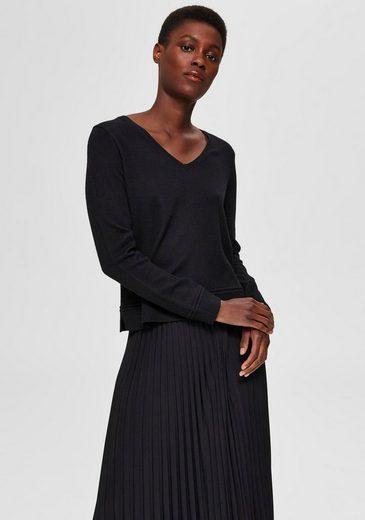 SELECTED FEMME V-Ausschnitt-Pullover »SLFINKA« im Materialmix mit Wollanteil