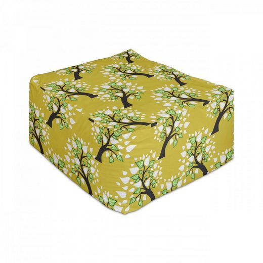Abakuhaus Pouf »Unter Tisch Fußhocker für Wohnzimmer Büro Ottomane mit Abdeckung«, Botanisch Abstrakte Bäume und Blätter