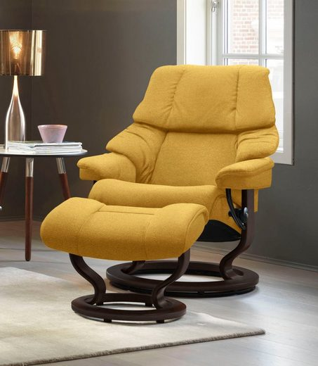 Stressless® Relaxsessel »Reno« (Set, 2-St., Relaxsessel mit Hocker), mit Hocker, mit Classic Base, Größe S, M & L, Gestell Braun