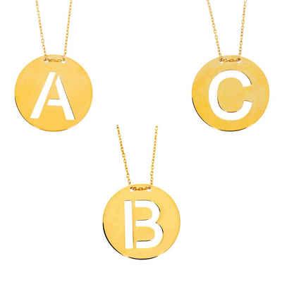 Stella-Jewellery Kette mit Anhänger »585 Gold Halskette mit rundem Anhänger Buchstaben« (inkl. Etui), Buchstaben Anhänger mit Kette
