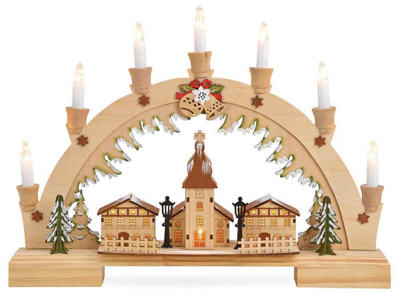 matches21 HOME & HOBBY Adventsleuchter »Schwibbogen Lichterbogen Winterdorf & Kirche & 7 LED-Kerzen 45 cm«