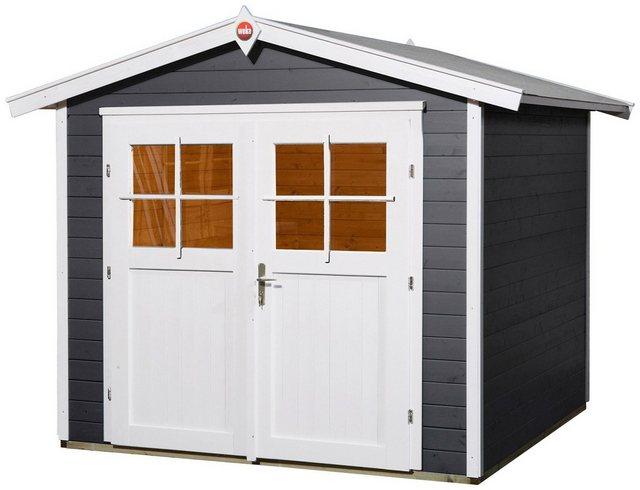 OBI Holz-Gartenhaus Monza B Anthrazit-Weiß 205 cm x 209 cm