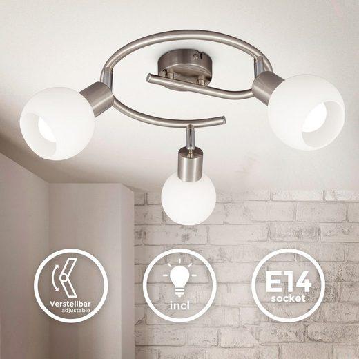 B.K.Licht LED Deckenspot »BKL1366«, schwenkbare LED Deckenlampe mit Glasschirm, warmweiße Lichtfarbe, 3x 5W, 3.000 K, E14, 3x 470lm, 3-flammige Spirale