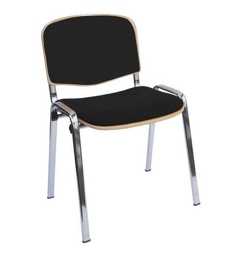 Lüllmann Besucherstuhl »Besucherstuhl - Buchenschichtholz gepolstert - 450/810 x 545 x 425 mm - chrom«, Sitz- und Rückenlehnenflächen ergonomisch geformt und abgepolstert - stapelbar bis 10 Stück übereinander