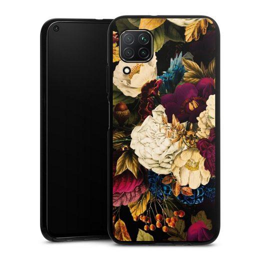 DeinDesign Handyhülle »Dark Vintage Flowers« Huawei P40 Lite, Hülle Vintage Blumen Muster