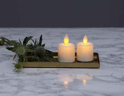 "STAR TRADING LED-Kerze »LED Teelicht ""Twinkle"" - mechanisch bewegte Flamme - Batteriebetrieb - Timer - H: 6cm - 2er Set«"