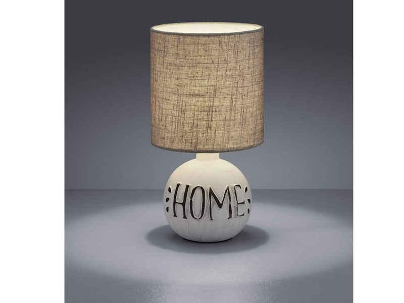 TRIO LED Tischleuchte, kleine Keramik Tisch-Lampe HOME mit Stoff-Lampen-Schirm 1-flammig für Wohnzimmer, Fensterbank, Schlafzimmer, Schreibtisch