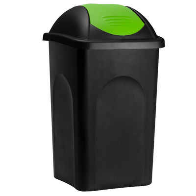 Deuba Mülleimer »Push Can«, 60 L Schwarz Grün Abfallbehälter 68x41x41cm Papierkorb Müllsystemtrennung Küche