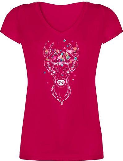 Shirtracer T-Shirt »Hirsch mit kleinen Blumen - weiß - Mode für Oktoberfest Damen - Damen T-Shirt mit V-Ausschnitt« Party Outfit Bayern Trachtenshirt Trachten Shirt
