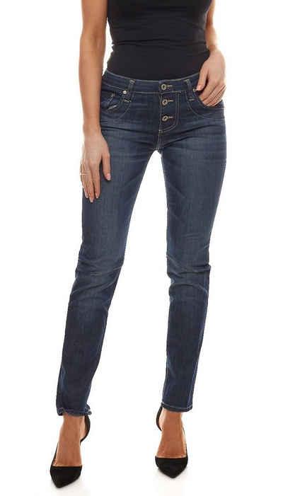 PLEASE Regular-fit-Jeans »PLEASE P81i Straight Cut Jeans gerade geschnittene Damen Denim Hose Made in Italy Freizeit-Hose Blau«