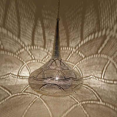 Casa Moro Pendelleuchte »Orientalische Lampe Mana D42 Silber tropfenform, Echt versilberte Messinglampe, Prachtvolle Pendelleuchte für tolle Lichteffekte wie aus 1001 Nacht, EL2290«, Kunsthandwerk