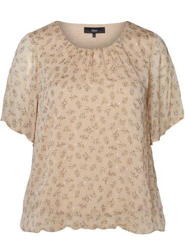 Zizzi Kurzarmbluse Große Größen Damen Bluse mit Rundhalsausschnitt und Blumenprint