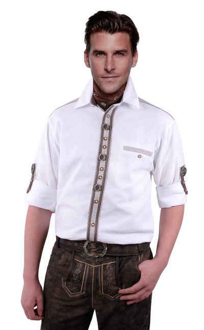 Moschen-Bayern Trachtenhemd »Trachtenhemd Herren Wiesn-Hemd mit Edelweiß zur Lederhose - Herrenhemd Langarm + Kurzarm Weiß«