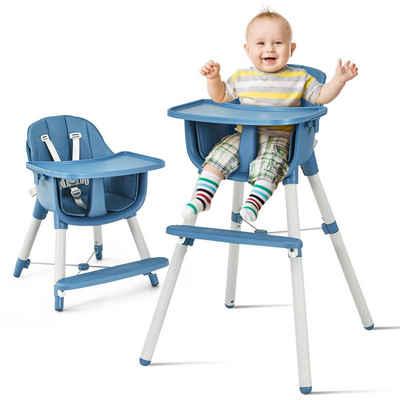 COSTWAY Kombihochstuhl »Babyhochstuhl Kinderhochstuhl«, 3 in 1, Hochstuhl & Essstuhl & Kinderhocker, höhenverstellbar