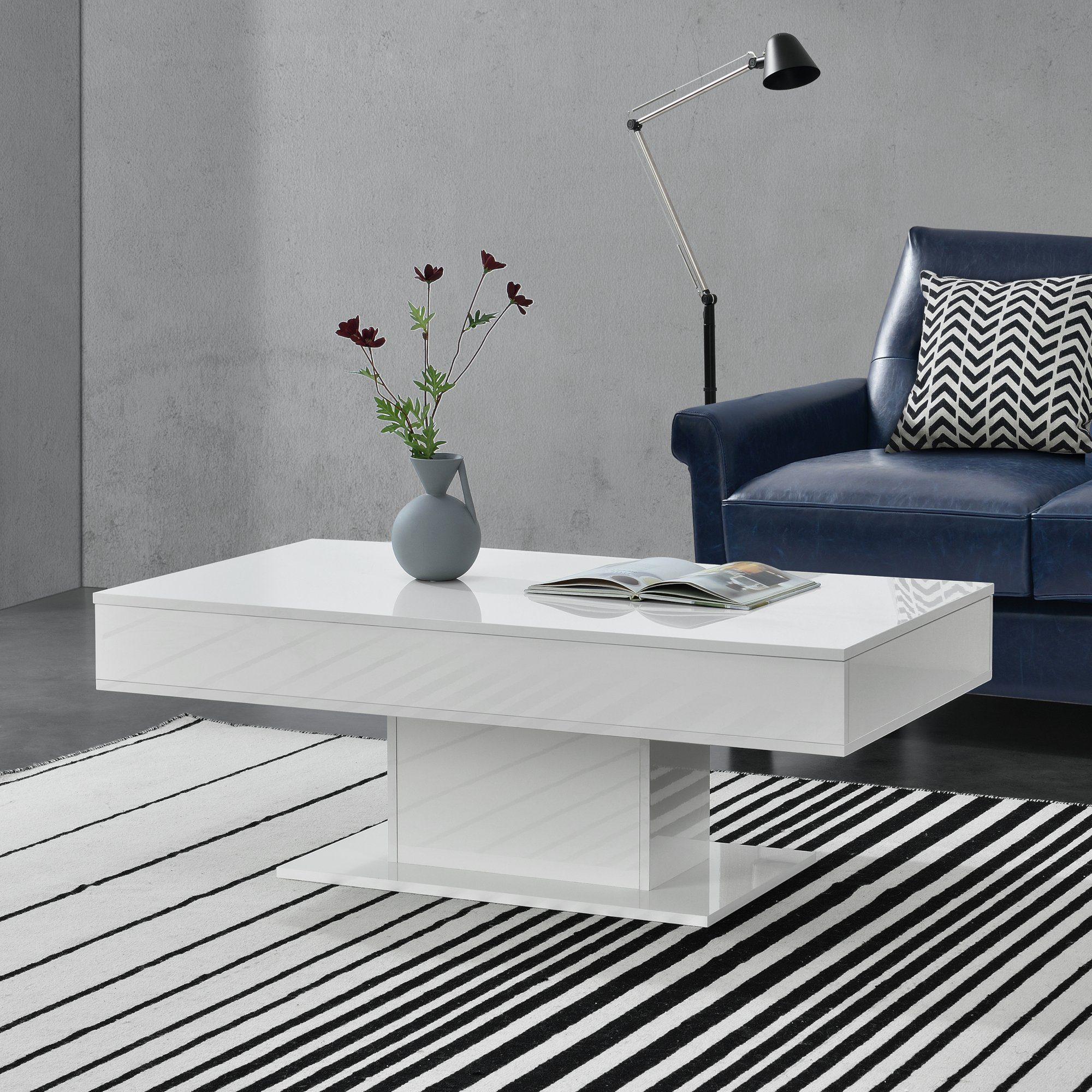 en.casa Couchtisch, »Lünen« Wohnzimmertisch mit 2 Staufächern ausziehbar weiß hochglanz online kaufen | OTTO