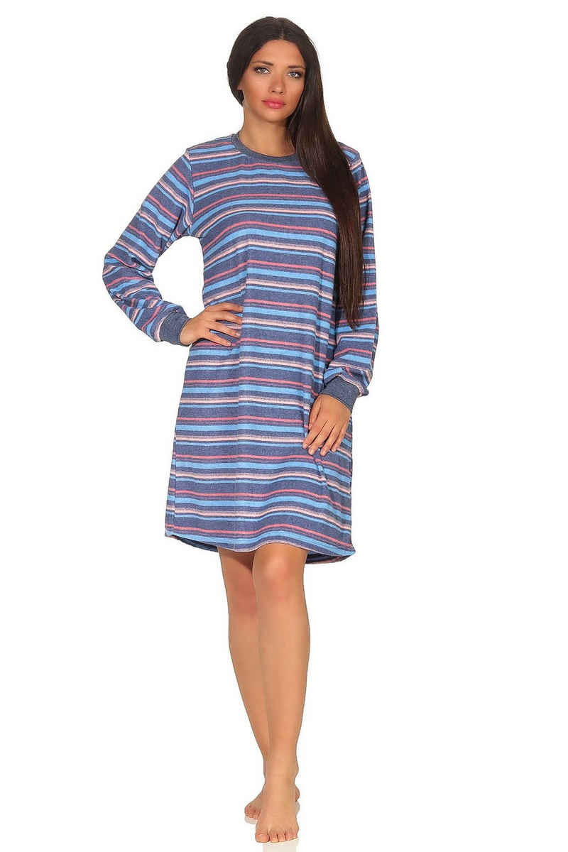 Normann Nachthemd »Damen Frottee Nachthemd mit Bündchen in Streifenoptik - auch in Übergrößen - 291 93 235«
