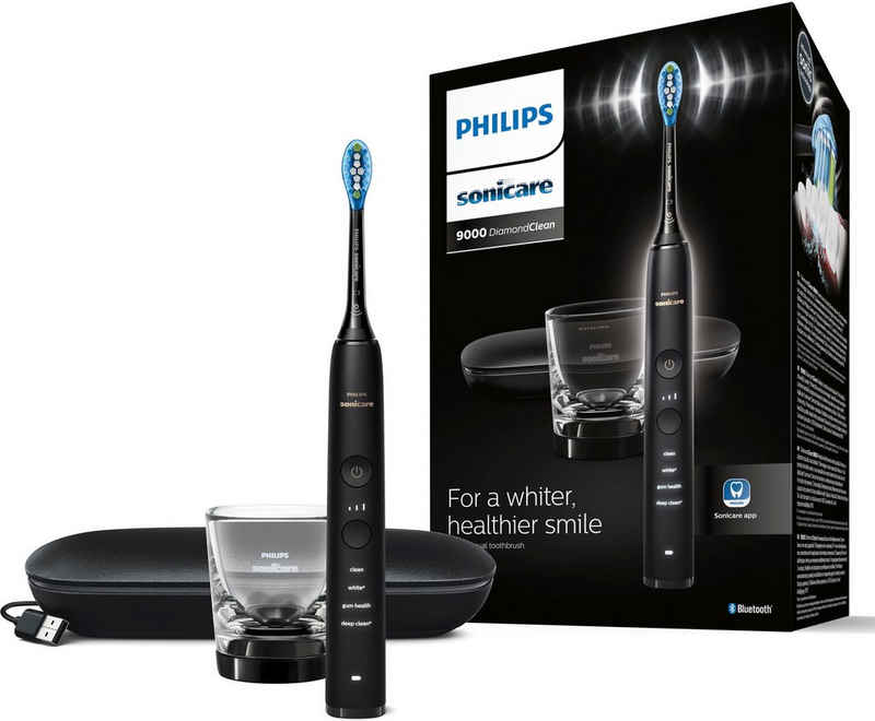 Philips Sonicare Elektrische Zahnbürste DiamondClean 9000 HX9911, Aufsteckbürsten: 1 St., mit Schalltechnologie, Ladeglass, USB-Reiseetui