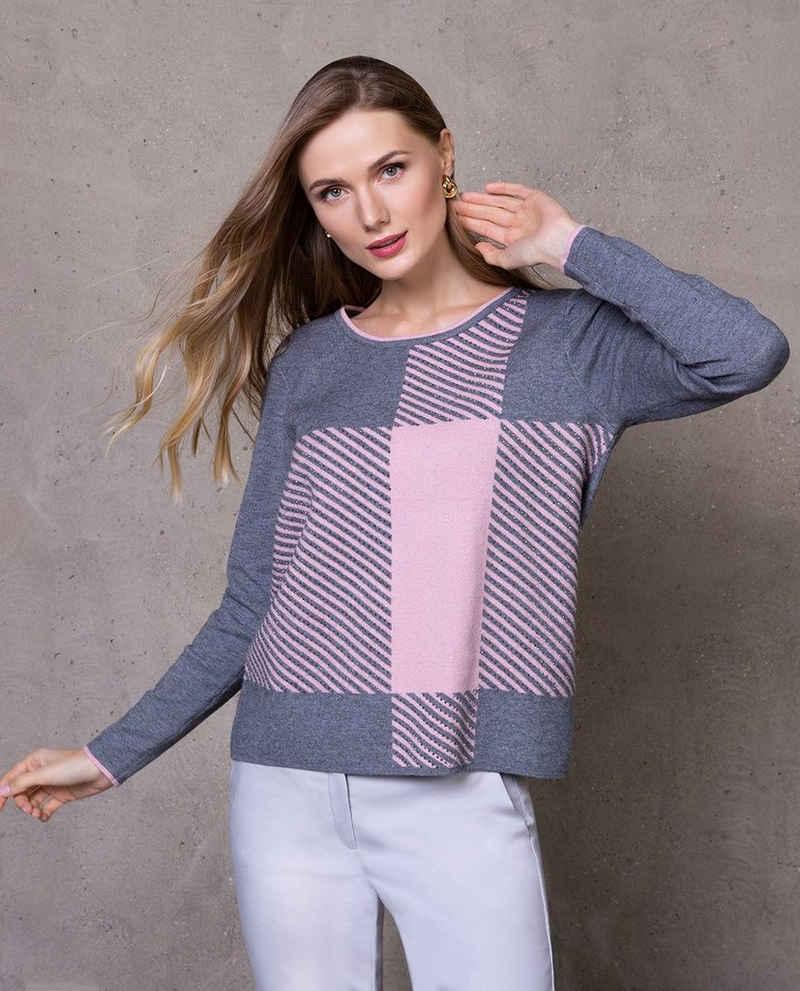 Passioni Strickpullover »Lässiger Pullover mit Karomuster und Blockstreifen«