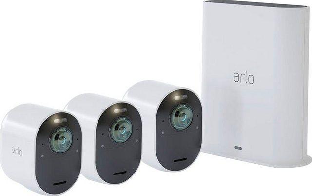 ARLO »Ultra 2 Spotlight Kabelloses 4K-UHD-Überwachungssystem mit 3 Kamera« Überwachungskamera (Außenbereich, 3-tlg)