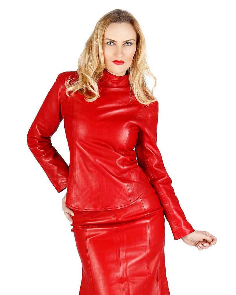 Fetish-Design Langarmbluse »Leder Oberteil Rot Ledertop Top Shirt Jacke aus echtem Lamm Nappa Leder Sexy«