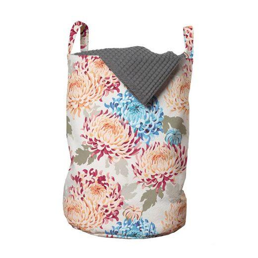 Abakuhaus Wäschesack »Wäschekorb mit Griffen Kordelzugverschluss für Waschsalons«, Vintage Blumen Chrysanthemeentwurf