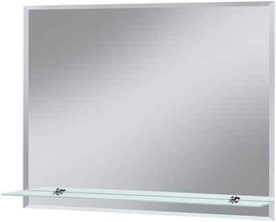Welltime Badspiegel Flex 80 X 60 Cm Mit Glasablage Und Facettenschliff