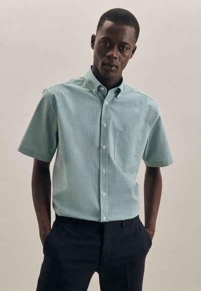 seidensticker Businesshemd »Regular« Regular Kurzarm Button-Down-Kragen Karo
