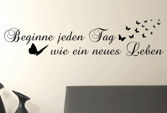 QUEENCE Wandtattoo »Beginne jeden Tag…«, dunkelgrau, 118 x 29 cm